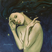 Angel Art Painting Posters - Virgo  from Zodiac series Poster by Dorina  Costras