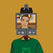 Tv Show Framed Prints - Virtual Sheldon Cooper Framed Print by Tomas Raul Calvo Sanchez