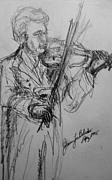 Violin Drawings Prints - Virtuoso Print by Jamey Balester