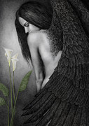 Feathers Painting Prints - Visible Darkness Print by Pat Erickson
