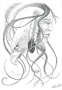 Pencil Native American Drawings - Vision by Tod Richardson