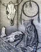 Catcher Drawings - Visions of Stimus the Cat by Jennifer  Foslien-Wheeler