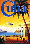 American Airways Painting Framed Prints - Visit Cuba Framed Print by Reproduction