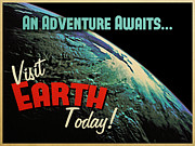 Planet Digital Art - Visit Earth Today by Vintage Poster Designs