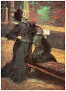 Woman In A Dress Prints - Visit to a Museum Print by Edgar Degas