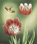 Tulips Drawings Prints - Visitation Print by Amy S Turner