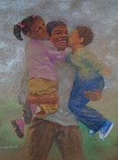 Black Family Pastels Framed Prints - Visiting Day Framed Print by Charon Rothmiller