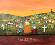 Chicana Mixed Media - Visiting our Loved Ones by Sonia Flores Ruiz