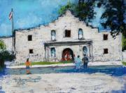 Riverwalk Pastels - Visiting The Alamo by M Diane Bonaparte