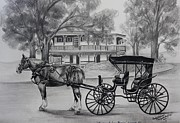 Horse And Buggy Drawings Framed Prints - Visiting the Lucas Mansion Framed Print by Carolyn Valcourt