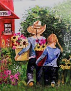Shed Paintings - Visiting The Red Shed by Maureen Marie Sundstrom