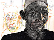 Leader Drawings Originals - Visitors From Tibet by Al Goldfarb