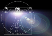 Proportions Art - Vitruvian Man With Flare In Chest by Laguna Design