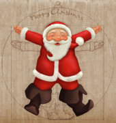 Santa Claus Digital Art Originals - Vitruvian Santa Claus by Giordano Aita