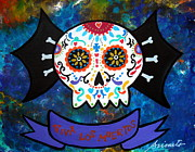 Day Of The Dead Posters - Viva Los Muertos Bat Poster by Pristine Cartera Turkus