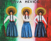 Independence Mixed Media Metal Prints - Viva Mexico Metal Print by Sonia Flores Ruiz