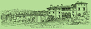 Ideas Drawings Prints - Vizcaya Museum in olive green Print by Lee-Ann Adendorff