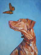 Monarch Painting Framed Prints - Vizsla and the butterfly Framed Print by Lee Ann Shepard