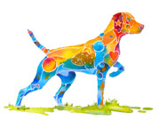 Vibrant Color Framed Prints - Vizsla on Point Framed Print by Jo Lynch