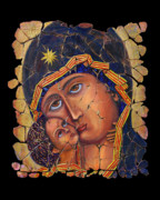 Icon Mixed Media Posters - Vladimir Mother of God Poster by OLena Art