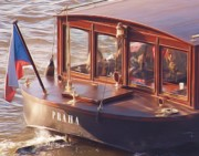 Czech Digital Art - Vltava River Boat by Shawn Wallwork