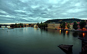 Czech Republic Digital Art Metal Prints - Vltava View 2 Metal Print by Madeline Ellis