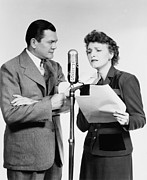 Microphones Prints - Voice Actors Marjorie Hannan And Hugh Print by Everett