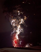 Lightning Bolts Prints - Volcanic Lightning Print by Olivier Vandeginste and Photo Researchers
