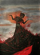 Makeup Painting Originals - Volcano keeper by Melita Safran