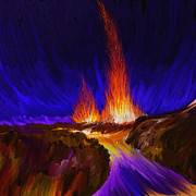 Water Way Paintings - Volcano  by Panupong Roopyai