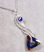 Futuristic Jewelry - Volcano Triangle Twisted Teardrop Pendant by Heather Jordan