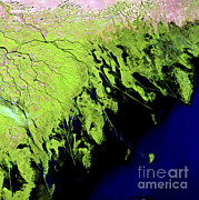 River Delta Framed Prints - Volga River Delta Framed Print by Nasa