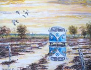 Camper Paintings - Volkswagen in a waterlogged field. by Joe Trodden