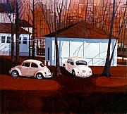 Beetle Paintings - Volkswagons in Red by Donald Maier