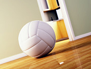 Volley Prints - Volley Ball On Wood Floor Print by Gualtiero Boffi