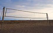 Beach Activities Prints - Volleyball Net on Beach Print by David Buffington