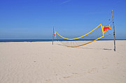 Net Prints - Volleyball Net On Beach Print by Leuntje