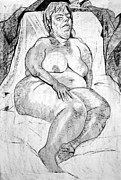 Nudes Drawings - Voluptuous Nude Sleeping  by Joanne Claxton