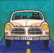 Road Trip Painting Framed Prints - Volvo Cats Framed Print by Ryan Conners