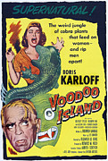 1950s Poster Art Framed Prints - Voodoo Island, Boris Karloff, Beverly Framed Print by Everett