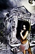 Lafayette Digital Art Prints - Voodoo Queen In A New Orleans Cemetery Print by James Griffin