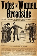 Rights Prints - Votes For Women Broadside Shows Print by Everett