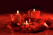 Votive Candles On Dark Red Background Print by Sandra Cunningham