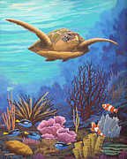 Sea Turtles Painting Originals - Voyage of the Honu by Jeffrey Oldham