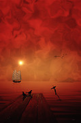 Acrylic Seascape Digital Art Posters - Voyage To Hades Poster by Thomas York
