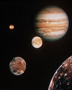 Galilean Moons Posters - Voyager Mosaic Of Jupiter & Its 4 Galilean Moons Poster by Nasa