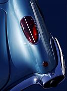 Blue Classic Car Posters - Vroom Vroom Poster by Rebecca Cozart