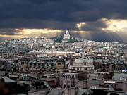 Stormy Framed Prints - Vue de la Butte Montmartre.Roofs of Paris Framed Print by Bernard Jaubert