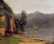 Boating Painting Framed Prints - Vue du Lac Leman Framed Print by Gustave Courbet