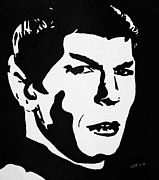 Star Drawings Posters - Vulcan Spock Poster by Kenneth Regan